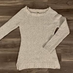 Roxy Light Gray Fitted Sweater, Size Medium